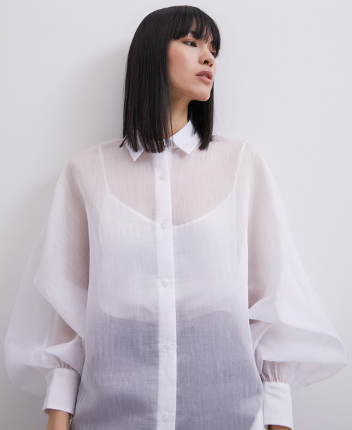 WHITE OVERSIZE SHIRT WITH PUFFED SLEEVES