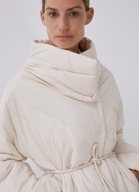 WHITE PADDED JACKET WITH SIDE CLOSURE