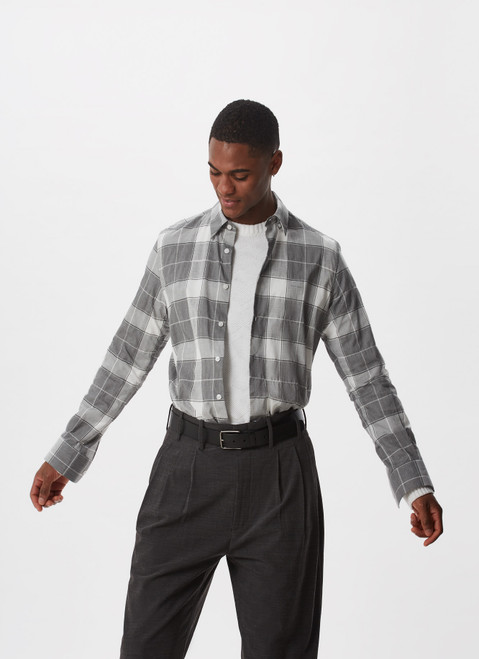 BLACK AND WHITE CHECKED SHIRT WITH LOGO