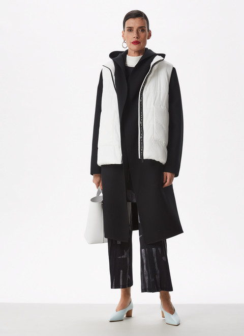 BLACK AND WHITE PADDED WAISTCOAT WITH HIDDEN HOOD