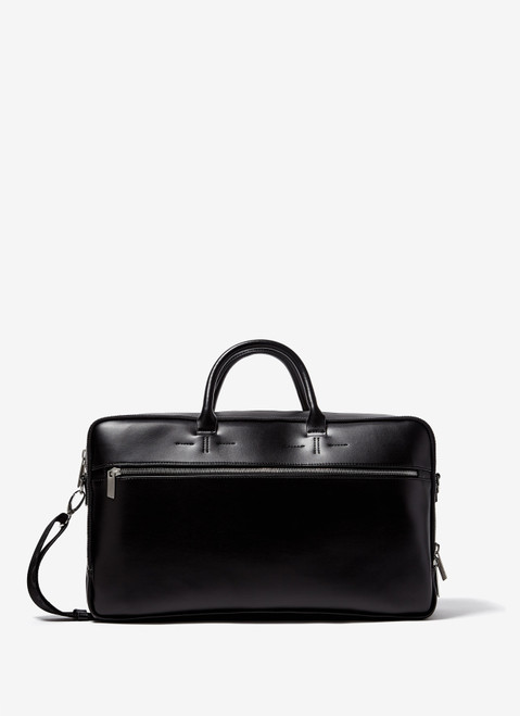 Black Faux-Leather Briefcase With Two Handle