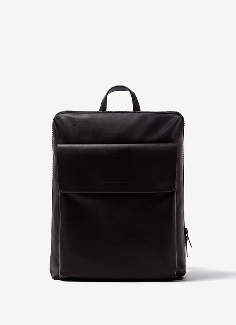 Black Faux-Leather Rectangular Backpack
