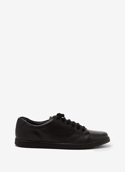 Black Leather Sneakers With Rubber Sole