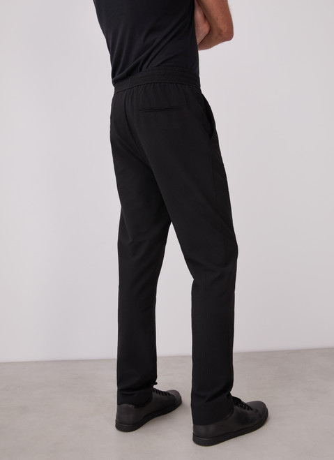 BLACK TROUSERS WITH ELASTIC WAIST AND NO DARTS