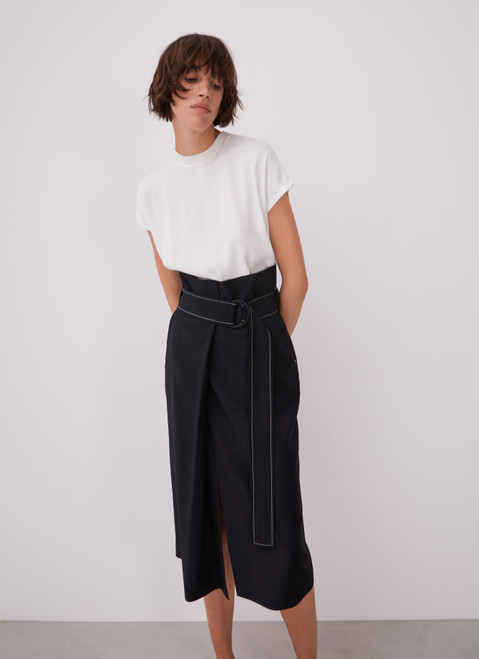 BLACK STRAIGHT WRAPPING SKIRT