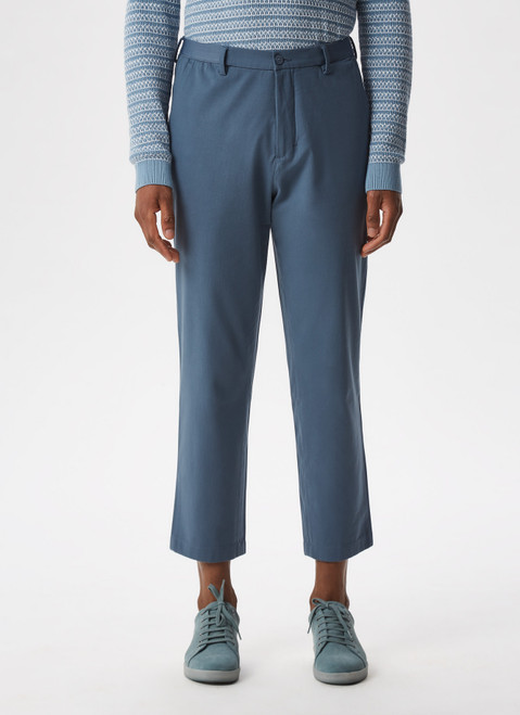 BLUE COTTON TROUSERS WITH ELASTIC WAISTLINE