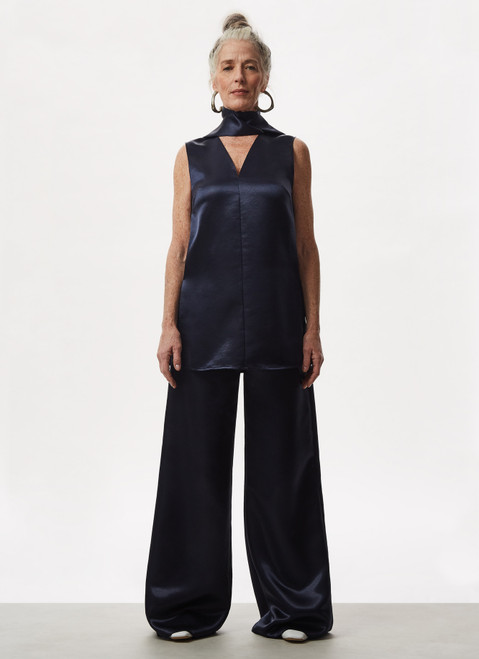 BLUE FLUID AND GLOSSY PALAZZO TROUSERS
