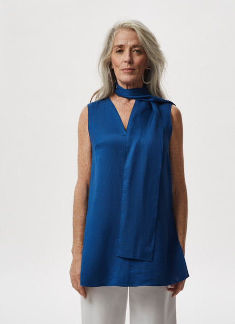 BLUE VISCOSE AND LINEN TOP WITH SCARF