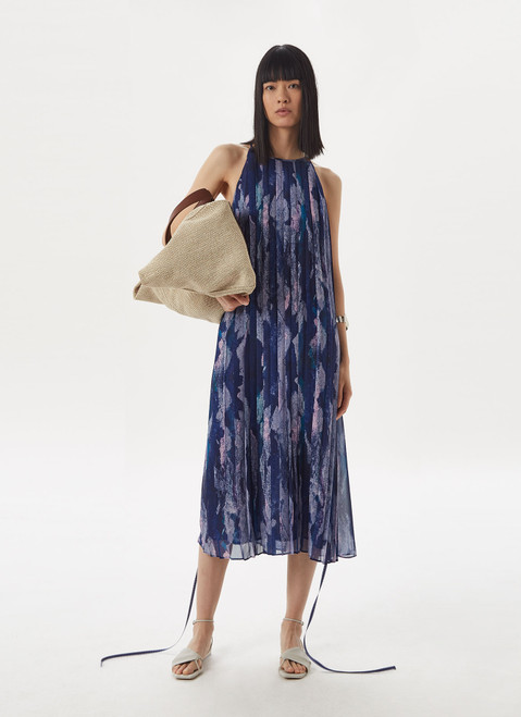 Blue Print Pleated Dress With Chalk Effect Print