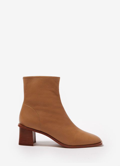 CAMEL LEATHER ANKLE BOOTS WITH BLOCK HEEL
