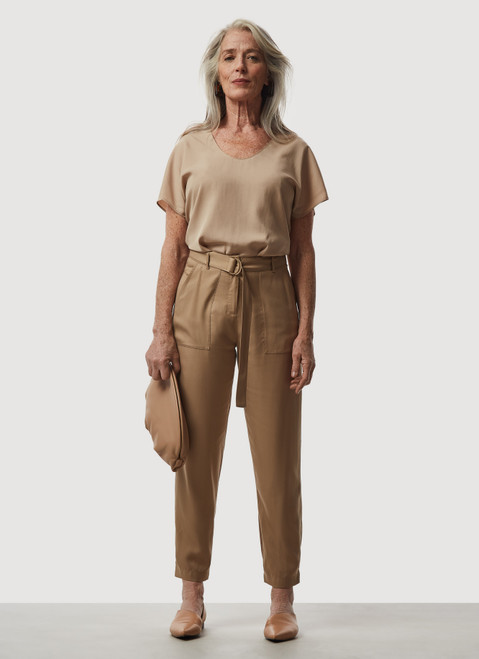Camel Lyocell Cargo Trousers With Belt