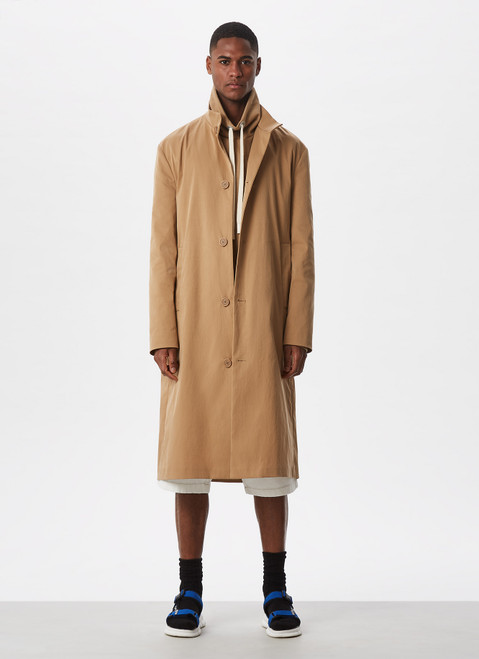Camel Raised Collar Trench With Button Closur