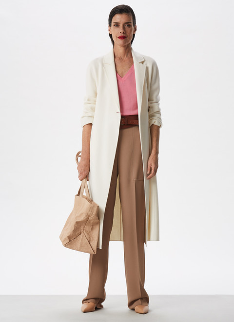 CAMEL STRAIGHT TROUSERS WITH VISIBLE STITCHING