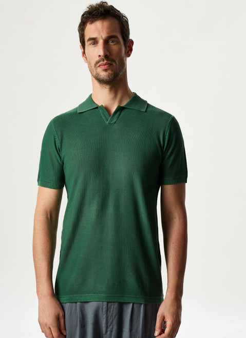 GREEN DELAVE POLO SHIRT WITH SHORT SLEEVE
