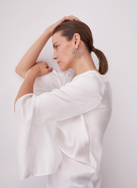 Ecru Silk Blouse With French Sleeve