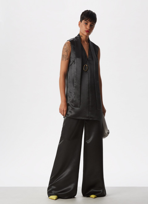 GREEN FLUID AND GLOSSY PALAZZO TROUSERS