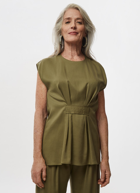 Green Lyocell Blouse With Front Gathering