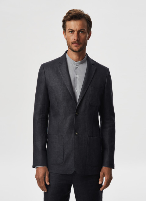 Grey Linen Twill Jacket With Notched Lapels
