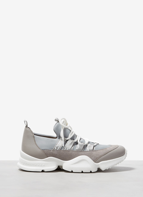 GREY LACE-UP LOGOED SNEAKERS