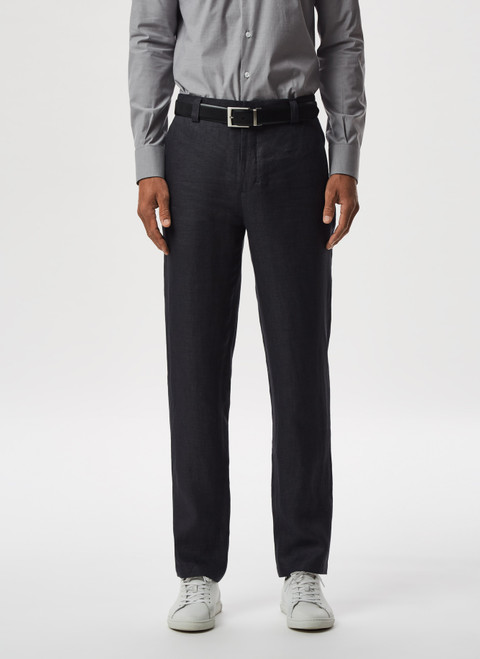 GREY LINEN TWILL TROUSERS WITHOUT DARTS