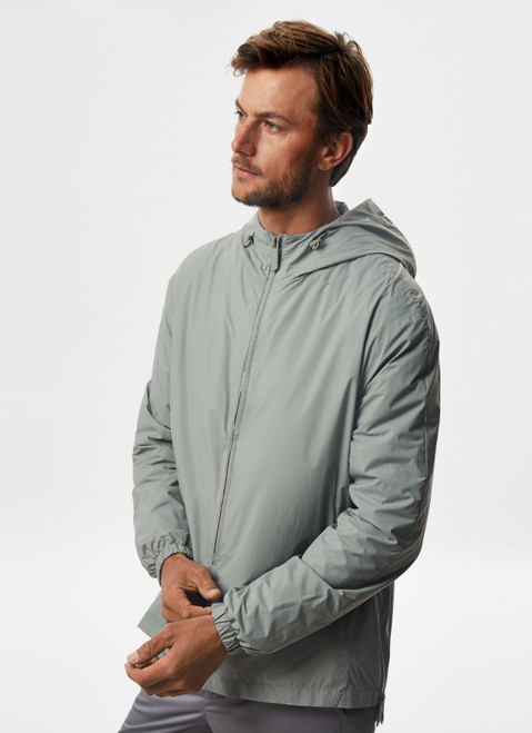 Grey Hooded Parka With Side Zipper