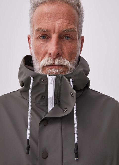 Ike Green Gummed Pullover With Hood And Pocket