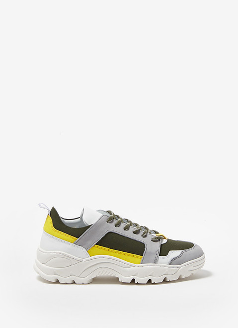 Grey/Green Track Sole Sneakers
