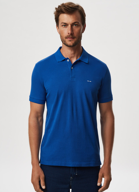 INK BLUE COTTON PIQUE WASHED POLO SHIRT