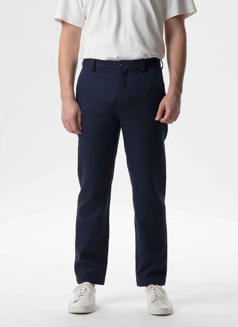 INK BLUE WASHED LINEN TROUSERS