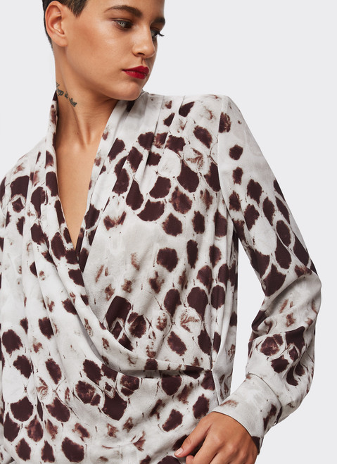 MULTICOLOR WRAP SHIRT WITH SIGNATURE SNAKE PRINT