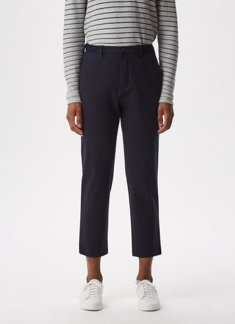 Navy Blue Cotton Trousers With Elastic Waistline