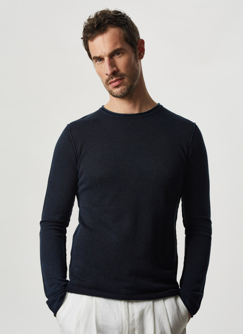 NAVY BLUE COTTON PIQUE WASHED T-SHIRT