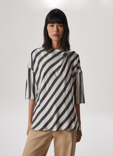 MULTICOLOR VISCOSE SHIRT WITH BUTTON-DETAIL