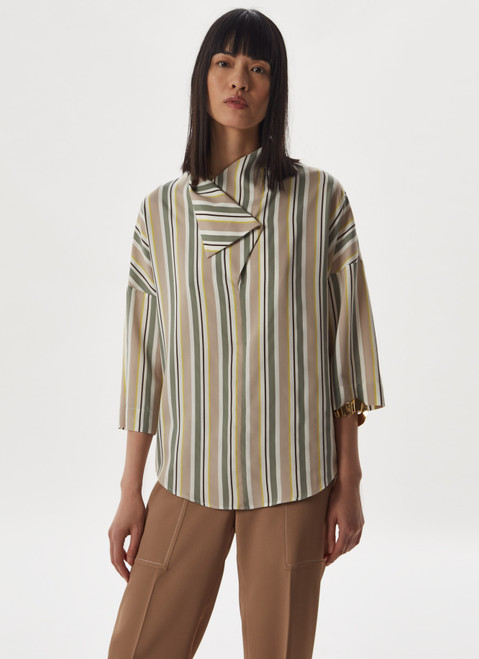 MULTICOLOR VISCOSE SHIRT WITH MULTIPOSITION COLLA