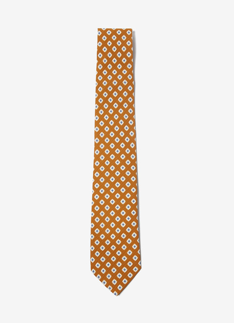 MUSTARD TIE WITH GEOMETRIC PATTER