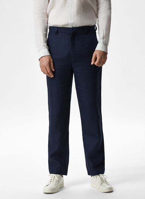 NAVY BLUE LINEN TROUSERS WITH SIDE POCKETS