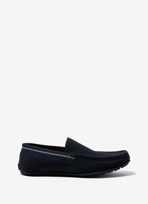 NAVY BLUE SUEDE MOCCASIN WITH RUBBER SOLE