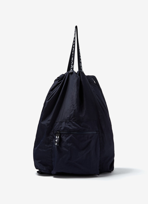Navy Blue Nylon Backpack With Logoed Handles