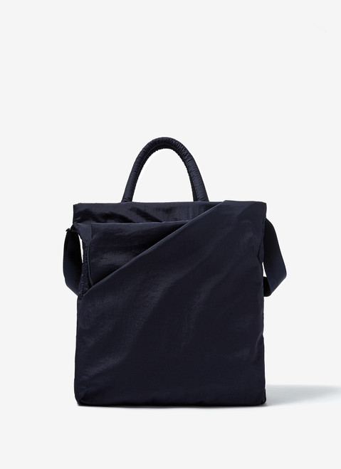 NAVY BLUE NYLON BRIEFCASE WITH DOUBLE HANDLE