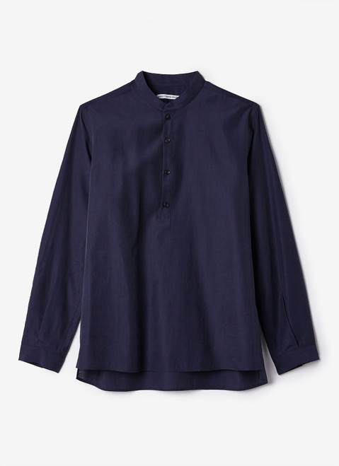NAVY BLUE LYOCELL SHIRT WITH BUTTON NECK