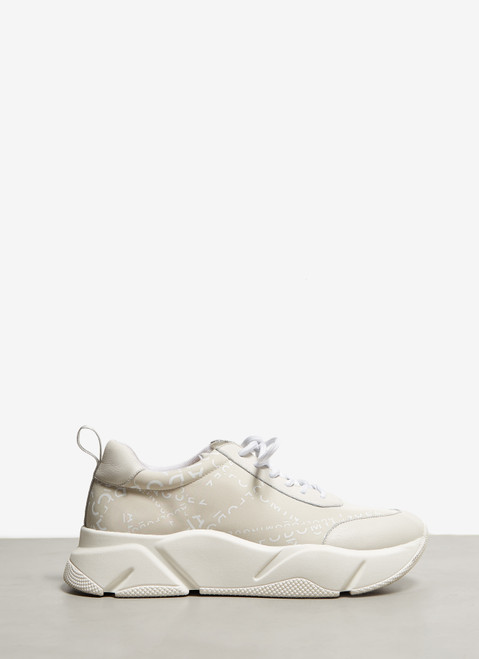 Off White Sneakers With Deconstructed Logo
