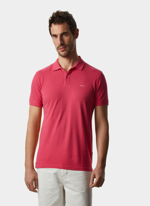 PINK COTTON PIQUE WASHED POLO SHIRT