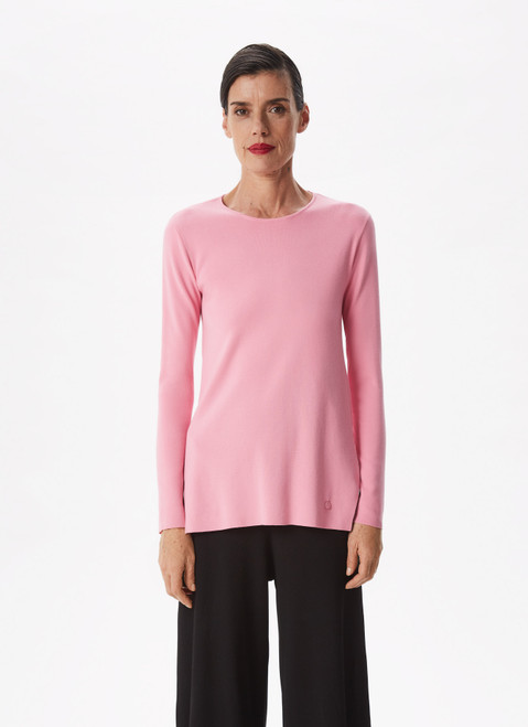 Pink Sweater With Side And Back Slits