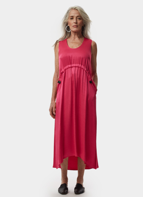 PINK VISCOSE DRESS WITH FRONT GATHERING