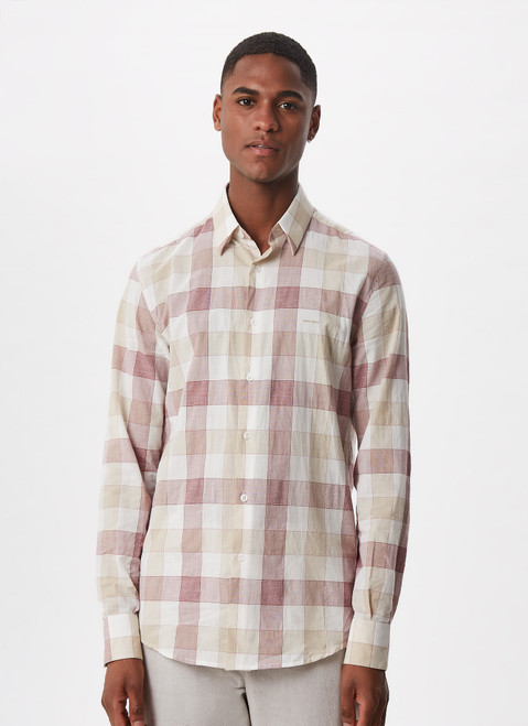 PINK CHECK CHECKED SHIRT WITH HIDDEN BUTTON