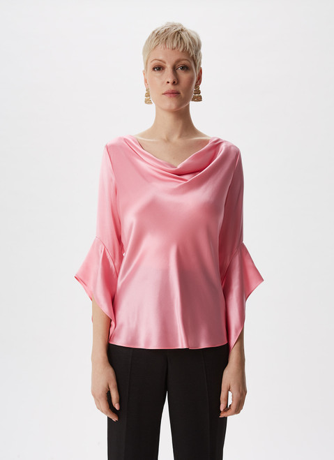 Pink Silk Blouse With French Sleeve