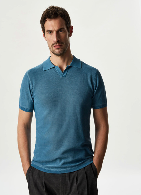 PRUSSIAN BLUE DELAVE POLO SHIRT WITH SHORT SLEEVE