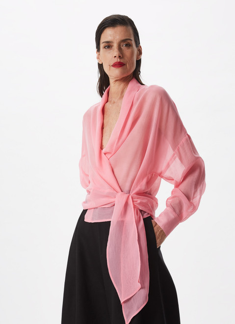 PINK WRAP SHIRT WITH SIDE TIE