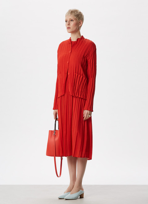 RED CRINKLE MIDI DRESS WITH ELBOW SLEEVE