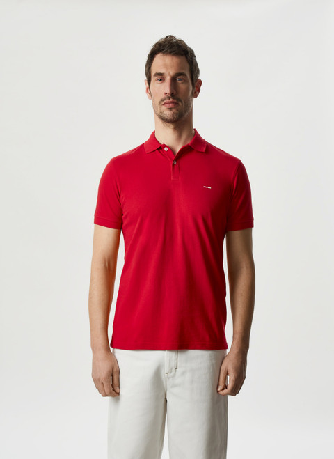 RED COTTON PIQUE WASHED POLO SHIRT